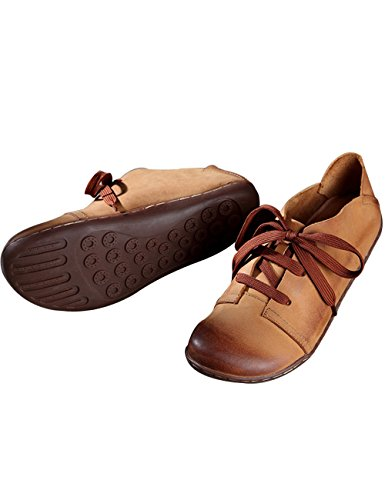 Flat Lace Shoes New 3 Style Round Up Brown Women's Leather Zoulee Toe xpOF4Zq
