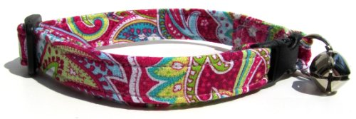 Paisley Cat Collar - Breakaway Cat Collar in Pink Paisley (Handmade in the U.S.A.)