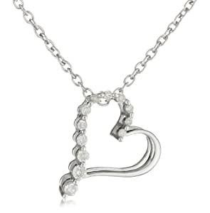 """Sterling Silver Diamond Journey Heart Pendant Necklace (1/10 cttw, I-J Color, I2-I3 Clarity), 18"""""""