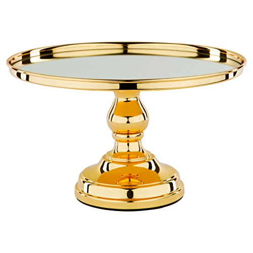 12 Inch Gold Plated Mirror Top Cake Stand Shiny Gloss Round Wedding Dessert Cupcake Pedestal Display