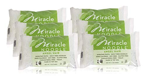 Miracle Noodle Shirataki Angel Hair Pasta, Gluten-Free, Zero Carb, Keto, Vegan, Soy Free, Paleo, Blood Sugar Friendly, 7oz (Pack of 6)