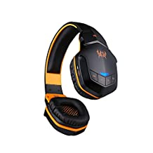 VersionTech Universal Bluetooth V4.0 Wireless Stereo Noise Isolating portable Headphones headsets with Microphone and NFC Function, Compatible with mobile devices, PC and other Bluetooth Enable Device - Also Support a 3.5mm Jack Plug(Black & Orange)