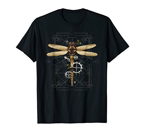 Dragonfly Clothing Company Mens Shirts - Steampunk Dragonfly T-Shirt Vintage Gears Goth