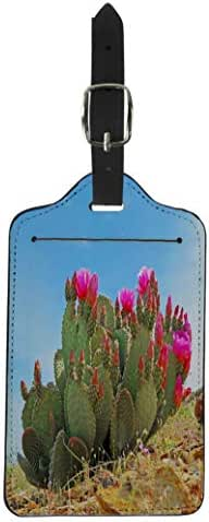 Semtomn Luggage Tag Red Bloom Prickly Pear Cactus Blooming Cacti Southwest Suitcase Baggage Label Travel Tag Labels