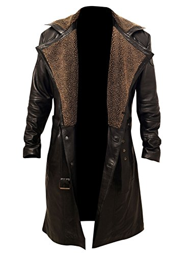 L.Outfitters Men's Blade Runner 2049 Ryan Gosling Fur Lapel Collar Trench Leather Coat (XXX-Large, Real Leather)