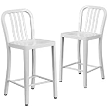 """Flash Furniture 2-CH-61200-24-WH-GG 24"""" High White Metal Indoor/Outdoor Counter Height Stool with Vertical Slat Back (2 Pack)"""
