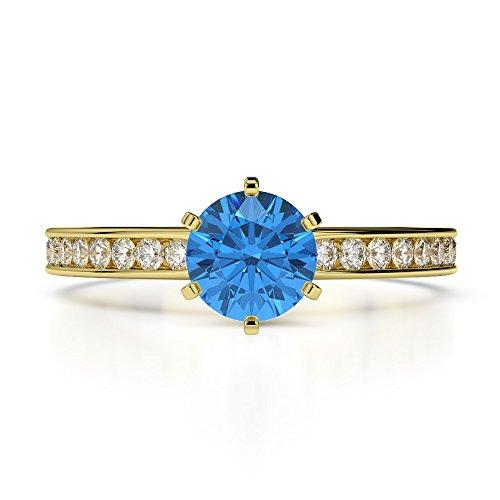 Or jaune 18carats 1CT G-H/VS sertie de diamants Coupe ronde Topaze bleue et bague de fiançailles Agdr-1214