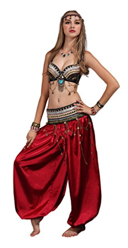 Mens Belly Dance Costumes (GUILTY BEAUTY Tribal Style Belly Dance Costume,Bra Belt Bloomers 3pcs Outfit)