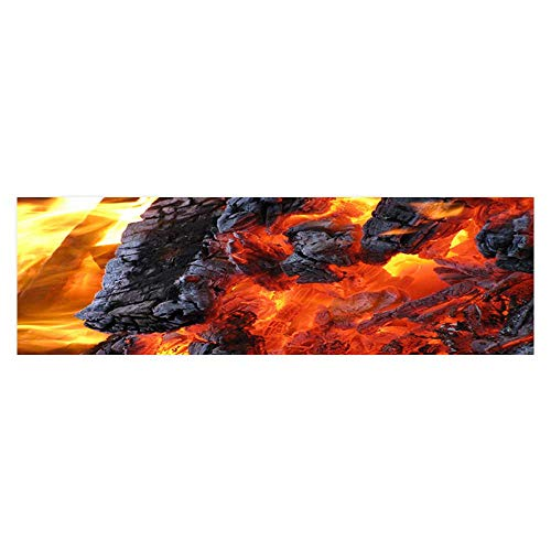 Poster Aquarium Background Backdrop PVC Adhesive A Burning Flame Landscape Sticker Wallpaper Fish Tank L23.6 x H11.8 ()