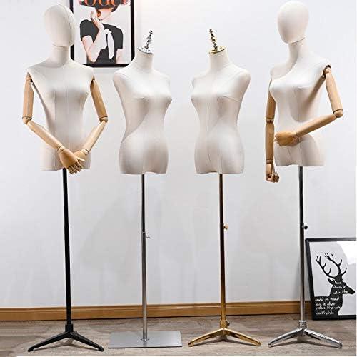Barture Vrouwelijke Mannequin Torso Body Tailors Dummy Display Bust Met Afneembare Hoofd En Armen Hoogte Verstelbare 5 Basisstijlen Voor Kleding Display (Maat: C)