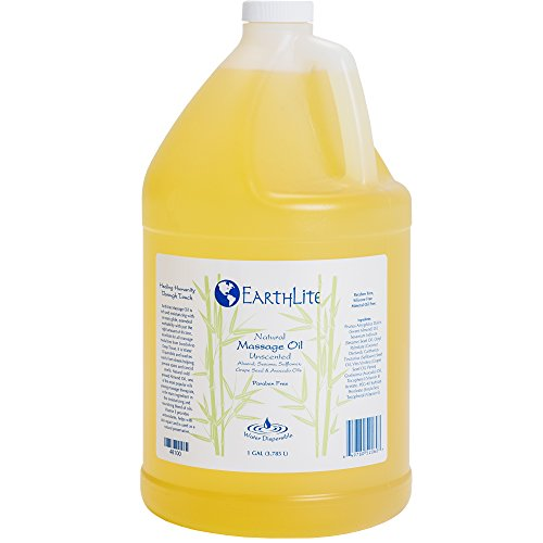 Natural Unscented Massage Oil (EARTHLITE Massage Oil - Natural, Unscented, Vitamin A, E & C to repair and moisture for all massage styles, 1 Gallon)