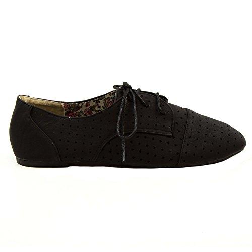 Blue Womens Sondra Lace up Perforated Oxford Shoes Sondra Black uMEaCzf
