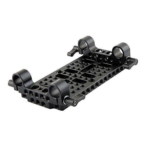 NICEYRIG Camera Cheese Plate Base Plate Tripod Mount with 15mm railblocks for DSLR Rail System