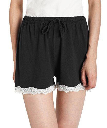 Latuza Women's Cotton Solid Boxer Shorts Lace Hem Pajamas Shorts L Black (Womens Lace Boxer Shorts)