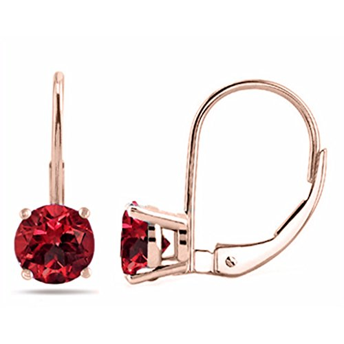 7MM Round Created Ruby Leverback Earrings In 14K Rose Gold