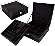 First to act tactical Two-Layer lint Jewelry Box Organizer Display Storage case with Lock