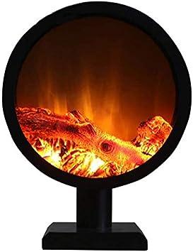 KAUTO Estufa eléctrica para Chimenea Redonda de Suelo con leña Tridimensional y Chimenea Decorativa empotrada para el Interior con Control Remoto Inteligente sin calefacción 6 W Negro