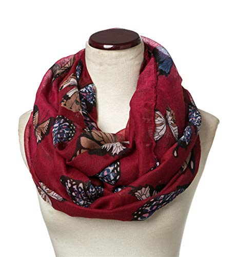 (SAFERIN Soft Sheer Lightweight Infinity Scarf for Women Loop Circle Scarves (D-Butterfly Burgundy))