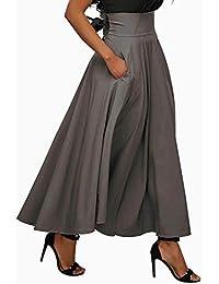Women's Casual Flowy Dress High Waist Pleated Midi Skirt...