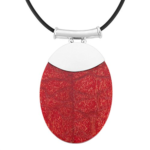 Sterling Silver Red Coral Oval Pendant Necklace With 18 Inch Rubber (Red Coral Oval Pendant)
