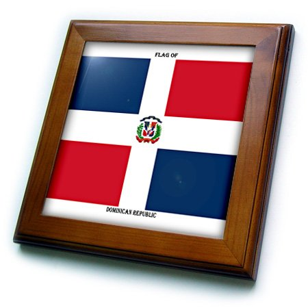 3dRose ft_211398_1 Flag of The Dominican Republic Framed Tile, 8