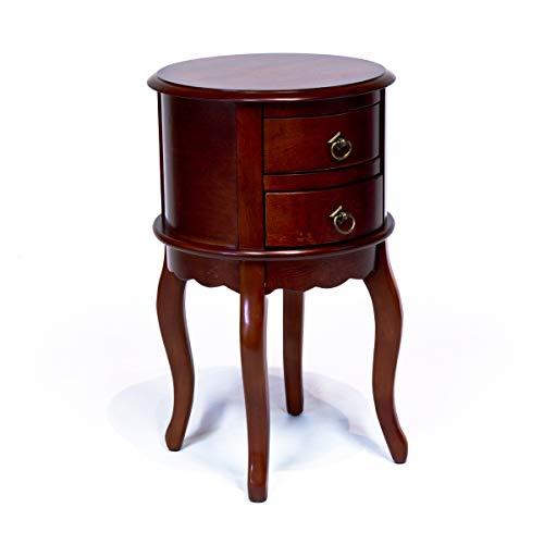 - All Things Cedar DS009 Twin Drawer Round Hall Table, Cherry