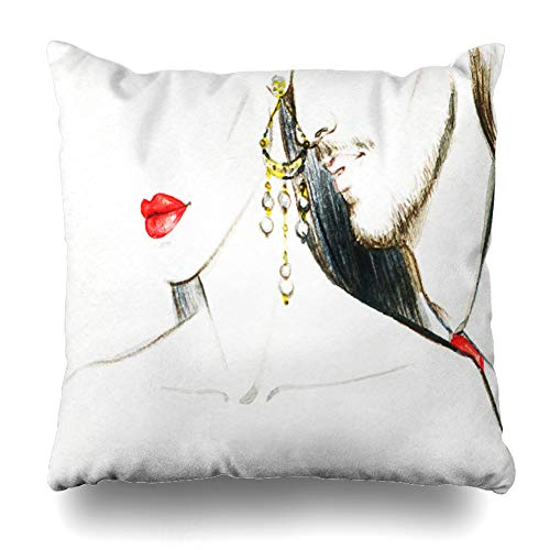 Ahawoso Throw Pillow Cover Boy Lovewoman Watercolor Boyfriend Wife Bride Cool Costume Dress Design Sky Decorative Cushion Case Square 20