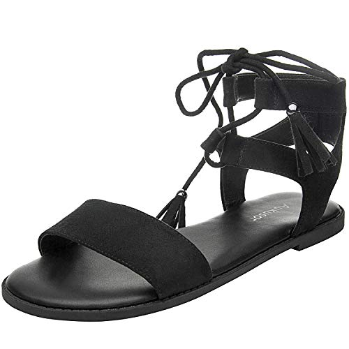 (Women's Wide Width Flat Sandals - Comfortable Lace up Fringed Tassel Ankle Strap Suede Dress Shoes.(180308 Black,8.5))