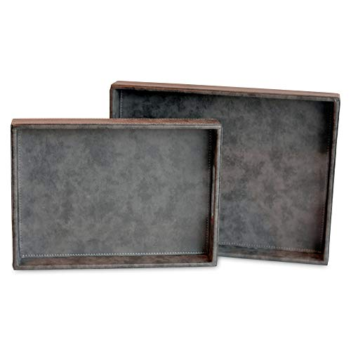 WHW Whole House Worlds Tribeca Trays, Set of 2, Romantic Gray, Faux Leather with Fabric Inset Lining, White Saddle Style Stitching, Each Over 1 Ft Long, (15 and 13 Inches) Organizer Valet Catchalls
