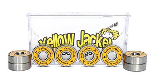 Yellow Jacket Premium Skateboard Bearings, Pro Longboard Bearings, 608, ABEC 9, Tropical Orange (Pack of 8)