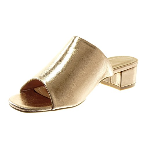 Angkorly Zapatillas Moda Sandalias Mules Slip-On Mujer Tacón Ancho Alto 4 cm Champán