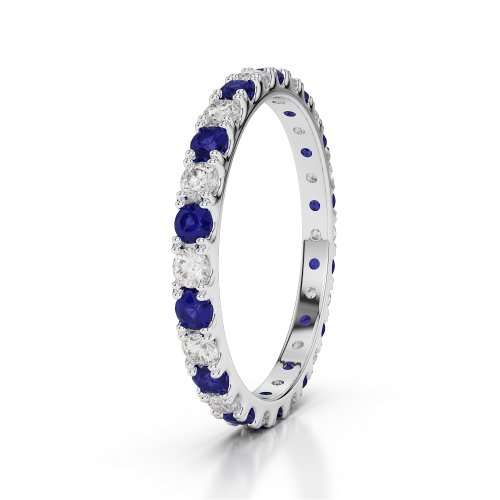 G-H/VS 0,84 CT Coupe ronde sertie de diamants Saphir et Full Eternity Bague en platine 950 Agdr-1120