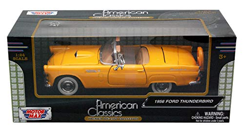 Motormax 1/24 Scale 1956 Ford Thunderbird Convertible Diecast Model Vehicle Yellow