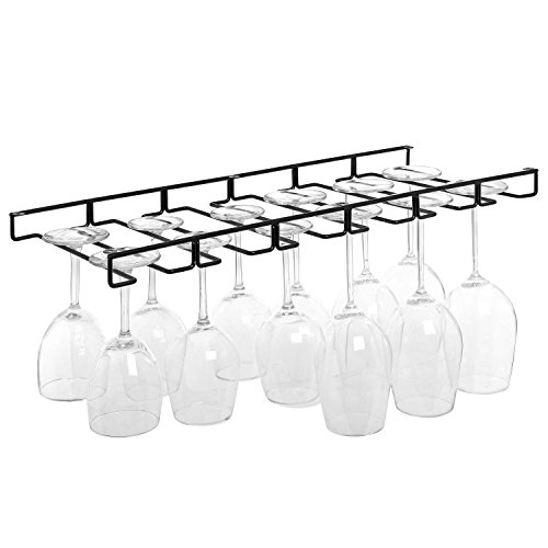 Modern Black Metal Wire Under Cabinet Stemware Wine Glasses Hanger Organizer Storage Holder Rack