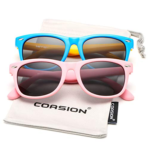 Kids Polarized Sunglasses TPEE Rubber Flexible Shades for Girls Boys Age 3-10 (ALL Pink + ()
