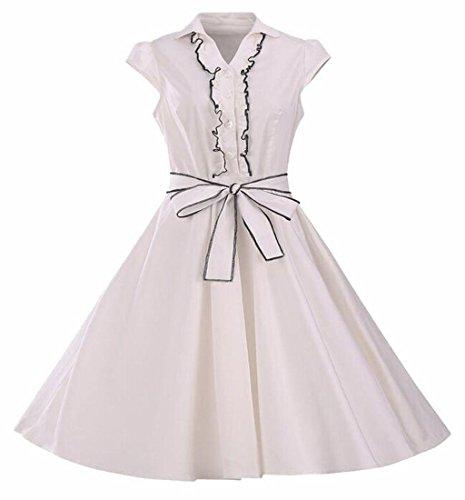Button White Jaycargogo Vintage Swing Sleeve Women Dresses Party Belt with xBwxf