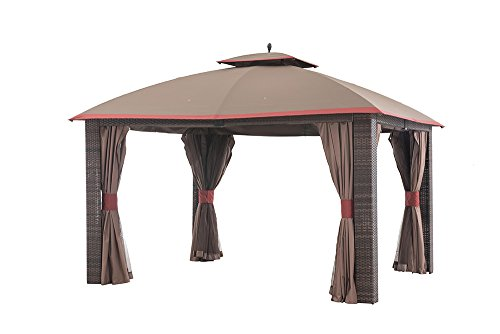 Sunjoy 12 39 X 10 39 Sonoma Wicker Gazebo With Netting And Curtain Brown Red Trim Brown Red