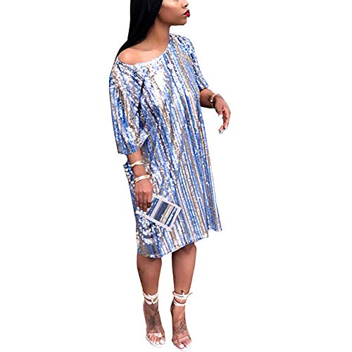 Remxi Women Glitter Sequin Short Sleeve Loose Casual Short T Shirt Mini Dress