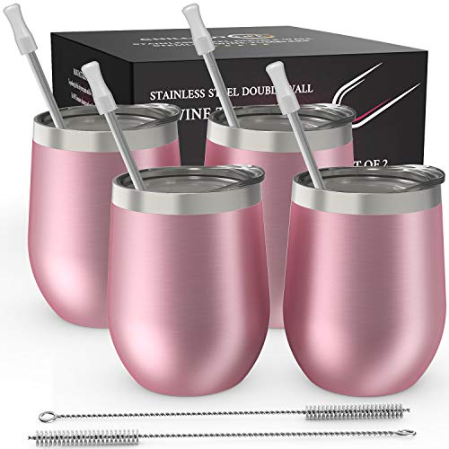 CHILLOUT LIFE Stainless Steel Stemless Wine Glass Tumbler 4 Pack Rose Gold 12 oz   Double Wall Vacuum Insulated Wine Tumbler with Lids and Straws Set of Four for Coffee, Wine, Cocktails, Ice Cream