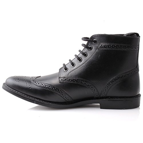 Unze Mens Leather 'Taylor' Lace Up Brogue Botines Negro