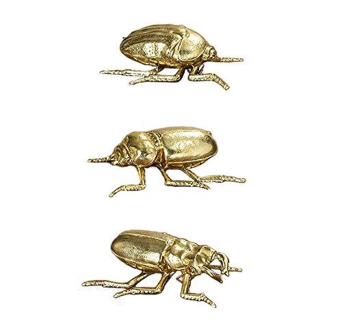 Home Collection arredamento, decorazione - set di 3 soprammobili a forma di insetti (scarafaggio, coccinella, scarabeo) con fissaggio a parete - materiale: resina - colore: oro - ca 11 cm Unbekannt