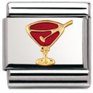 Nomination Composable Classic FUN Edelstahl, Email und 18K-Gold (Aperitif-Glas ROT) 030209
