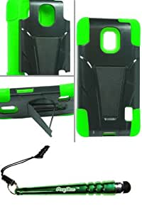 LG D500 Optimus F6 Hybrid Case w Stand Green and FoxyCase stylus cas couverture
