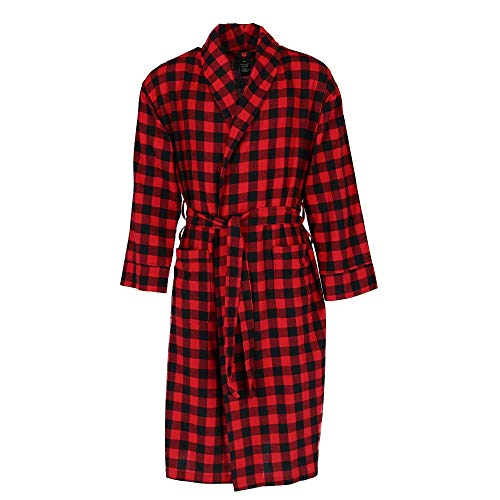 - Hanes Men's Big and Tall Cotton Flannel Robe, 3X/4X, Multi