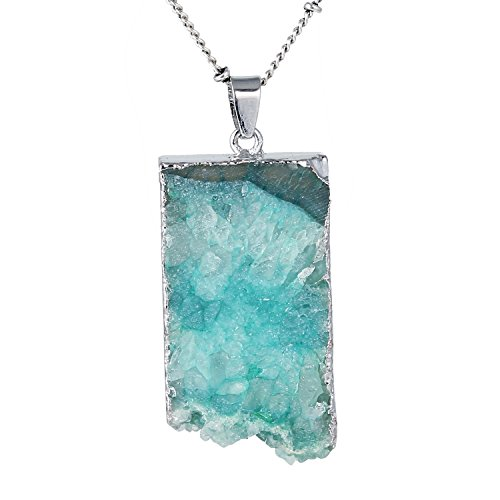 te Pendant Gemstone Crystal Wire Natural Stone Necklace (2) (Natural Agate Stone Pendant)