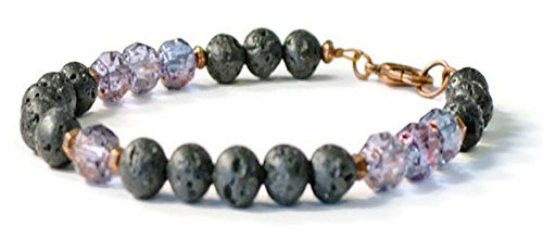 Beads-N-Style Lava Stone & Amethyst Firepolish Aromatherapy Bracelet, Essential Oil Diffusing Jewelry (7.0)