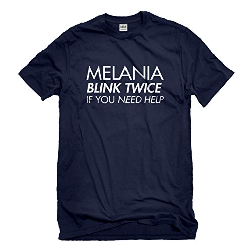 Mens Melania Blink Twice if You Need Help! Large Navy Blue - Real Housewives Our