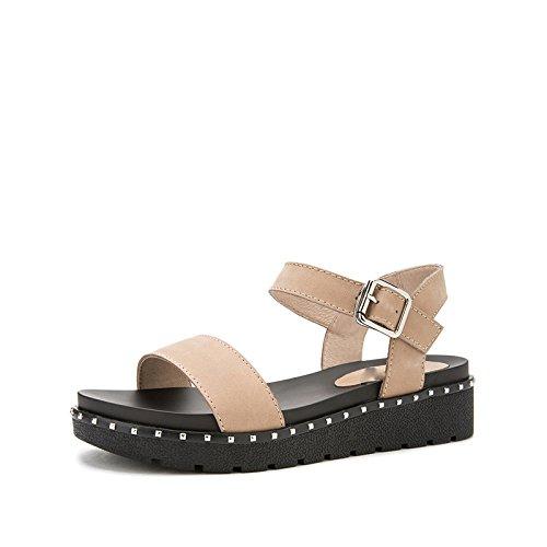 moda casual alla basso Albicocca Sandali Pantofole a DHG da tacco Sandali piatti estivi Tacchi basso alti donna tacco 38 Sandali con nwzxYB4q