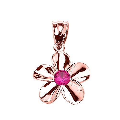 Collier Femme Pendentif 10 Ct Or Rose Hawaiienne Plumeria Rouge Oxyde De Zirconium Élégant (Livré avec une 45cm Chaîne)
