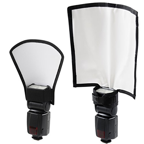 waka Flash Diffuser Reflector Kit - Bend Bounce Diffuser Flash Bender + Silver/White Reflector for Speedlight, Universal Mount for Canon, Nikon, etc.